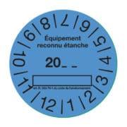 """Etiquette controle etanchéité bleu """"conforme"""""""
